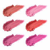 Set Of Lipstick Smudges Isolated On White Background. Smudged Makeup Product Sample poster