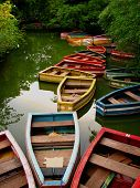 Empty Colored Wooden Boats