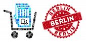 Mosaic Transfer Rouble Accounts And Distressed Stamp Seal With Berlin Caption. Mosaic Vector Is Comp poster