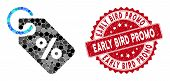 Mosaic Discount Tag And Rubber Stamp Watermark With Early Bird Promo Phrase. Mosaic Vector Is Compos poster