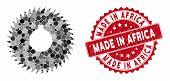 Mosaic Milling Cutter And Corroded Stamp Seal With Made In Africa Phrase. Mosaic Vector Is Designed  poster