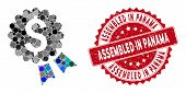 Mosaic Banking Award Seal And Rubber Stamp Seal With Assembled In Panama Caption. Mosaic Vector Is F poster