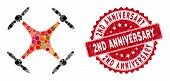 Mosaic Airdrone And Grunge Stamp Watermark With 2nd Anniversary Phrase. Mosaic Vector Is Designed Wi poster