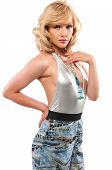 picture of halter-top  - Pretty slim blonde in a silver halter and slacks - JPG