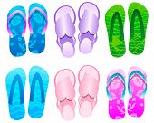Flip flops Summer Icon Set