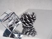 Silver Christmas, Happy Christmas Greeting Card, Silver Cone And Gift On Silver Background, New Year poster