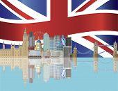 London Skyline With Union Jack Flag Illustration