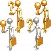 Glühbirne Frage Geschäftsleute