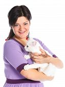 Young woman hold white cat.