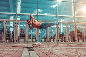 Jumping Flight, Young Active Dancer, Trained Tanned Torso, Sport Man, Summer City, Break-dancer Pose poster