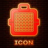 Glowing Neon Pet Carry Case Icon Isolated On Brick Wall Background. Carrier For Animals, Dog And Cat poster