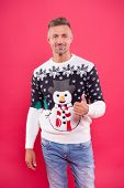 Good Choice. Cheerful Mood. Handsome Man Wear Winter Sweater With Snowman. Traditional Sweater For H poster