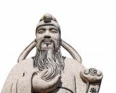 stock photo of phylacteries  - Stone ancient of Chinese man statue in white background - JPG