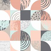 Modern Seamless Geometric Pattern: Semicircles, Circles, Squares, Grunge Textures, Doodles poster