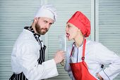 Cooking Is Sexy. Sharp Knife Professional Tool. Man Use Sharp Cleaver Knife. Couple Playful With Dan poster