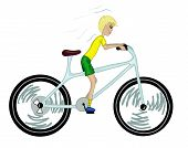Kid with too big bicycle.