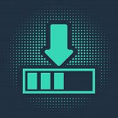 Green Loading Icon Isolated On Blue Background. Download In Progress. Progress Bar Icon. Abstract Ci poster