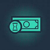 Green Fast Payments Icon Isolated On Blue Background. Fast Money Transfer Payment. Financial Service poster