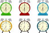 Alarm Clock, A Set Of Six Different Alarms. Vector Illustration Of Cartoon Alarm Clocks. poster