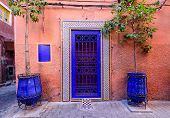 Sightseeing Of Morocco. Traditional Street In Marrakech Medina (old Town). poster