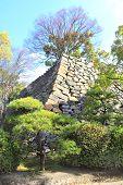 Stone fortress wall of Okayama castle (Ravens Castle, Black castle), Okayama city, Japan poster