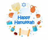 Jewish Holiday Hanukkah Greeting Card Traditional Chanukah Symbols Wooden Dreidels Spinning Top, Heb poster