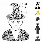 Magic Master Icon Mosaic Of Joggly Parts In Various Sizes And Color Hues, Based On Magic Master Icon poster
