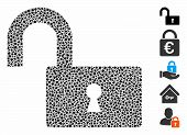Open Lock Icon Mosaic Of Bumpy Elements In Various Sizes And Color Hues, Based On Open Lock Icon. Ve poster
