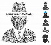 Spy Person Icon Mosaic Of Tremulant Parts In Variable Sizes And Color Tones, Based On Spy Person Ico poster
