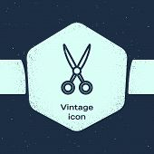 Grunge Line Scissors Hairdresser Icon Isolated On Blue Background. Hairdresser, Fashion Salon And Ba poster