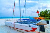 Pleasure Boats On The White Sand Of A Fabulous Tropical Island. Only The Blue Sky And The Warm Sea.  poster
