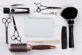 Set Of Hairdresser Tools And Blank Notebook. Professional Hairdresser Equipment And Paper Notepad Wi poster