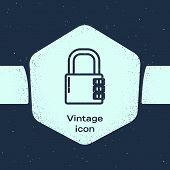 Grunge Line Safe Combination Lock Icon Isolated On Blue Background. Combination Padlock. Security, S poster