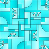 Artistic Pattern With Eyes In Geometric Shapes Grid 80s And 90s Vintage Fashion Fabric Print. Modern poster