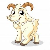 Goat Glance Behind, Mammal Animal, Cartoon Vector Illustration Mascot, In Isolated White Background. poster