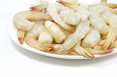 Plate Of Raw Prawn Shrimps