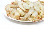 Plate Of Raw Prawn Shrimps