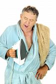 Yawning Man With Iron