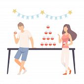 Couple At Banquet In Honor Of Prom Or Anniversary Vector Illustration Isolated On White Background poster