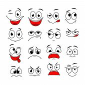 Cartoon Expressions. Cute Face Elements Eyes And Mouths With Happy, Sad And Angry, Disbelief Emotion poster