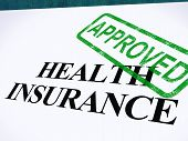 stock photo of reimbursement  - Health Insurance Approved Form Showing Successful Medical Application - JPG