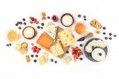 Cheese And Wine, Tasting And Pairing, An Overhead Flat Lay Shot On A White Background poster