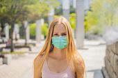 Women Wearing Facial Hygienic Mask For Safety Outdoor. People In Masks Because Of Fine Dust. Problem poster