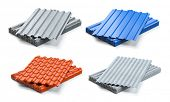 Set of different types of roof coating. Stacks of sheet metal  profiles, ceramic tile and gypsum roo poster