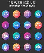 Hi Tech Icon Set. Hi Tech Web Icons On Round Trendy Gradients poster