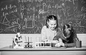 Chemistry Science. Biology Experiments With Microscope. Little Kids Scientist Earning Chemistry In S poster