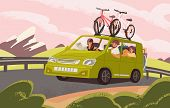 Family Road Trip On Camper Car Flat Vector Illustration. Family Couple With Kids And Dog Going On Va poster