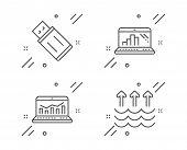 Usb Flash, Web Analytics And Graph Laptop Line Icons Set. Evaporation Sign. Memory Stick, Statistics poster