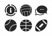 Volleyball, Basketball, Baseball And American Football Signs. Chat, Info Sign. Sport Balls Icons. Te poster
