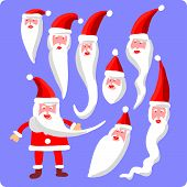 Eight Santa heads and one body